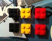 6 Retro made using LEGO ® Fridge Magnets Black Yellow Red