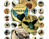 Digital collage sheet RAVEN IN CIRCLES 1 inch circle for spooky halloween pendant and craft instant download printable - tn148