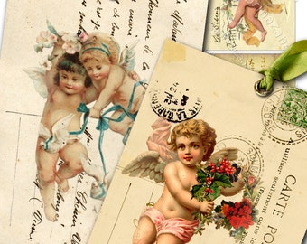 GREETING AND KISSES atc aceo size  - printable hang tags cherubs - Digital collage sheet instant backround postcard ephemera graphic - ac151