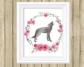 Wall art print wolf pink grey nursery home decor animal art printable watercolor animal lover floral wreath downloadable nursery decor