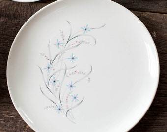 Mid Century Windemere DINNER PLATES Taylor, Smith and Taylor, Ever Yours, 1950s Dinner Plates Blue and Pink Floral, Atomic Dinner Plates