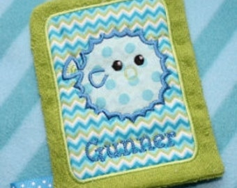 Applique Pufferfish Wash Mitt Embroidery Machine Design for the 5x7 hoop