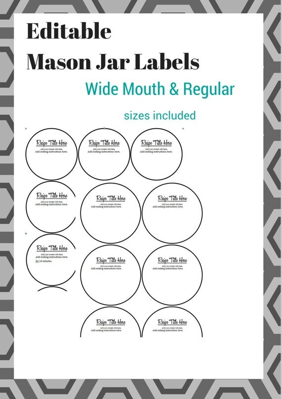 editable mason jar labels  includes wide mouth and regular