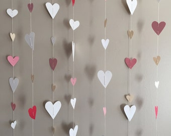 Paper Heart Garland - on a string for decoration or back drops