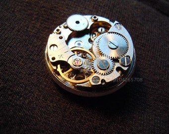 Steampunk brooch watch movement pin vintage mechanism