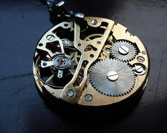 Steampunk gear gold watch movements creative birthday gift hand made necklace