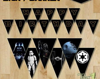 Star Wars Darth Vader Party - Personalized Happy Birthday Banner / Sign with name and age - Digital File - Printable
