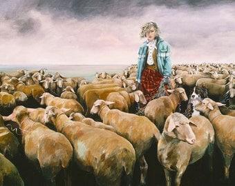 Greeting Cards, Birthday Cards, Blank Card, Border Collie, Sheep, Farm Card,