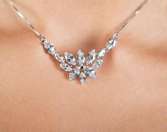 Wedding necklaces Cubic zirconia necklace Bridal necklaces Minimalist wedding Chain necklace Flower necklace Wedding accessories CZ chain