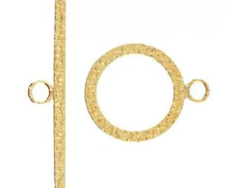 14kt. Gold Filled Hammered Toggle Clasp 14mm
