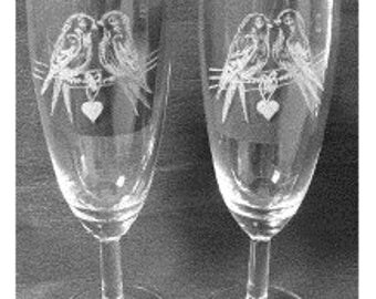 Champagne glasses set with birds, wedding etc.