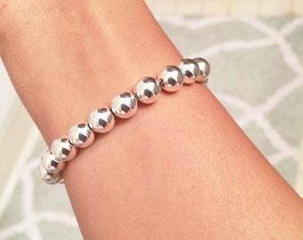 Sterling silver bead bracelet with 8 mm Beads / sterling silver beaded bracelet / gold bracelet / silver bracelet / rose gold bracelet