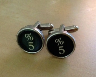 Number 5 Typewriter Key Jewelry Cufflinks. Authentic. No GLUE!  Fifth anniversary.