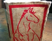 "Hand Bound Journal with Red Horse Block Printed Lokta Paper Cover - 4.5"" x 2.75"""