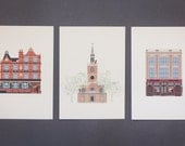 Foxy's London Architecture Postcard Collection - Angel Islington Vol.1 . Urban Fox. Graphic Illustrated Card.
