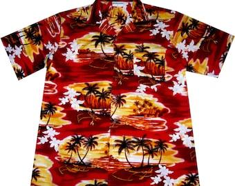"hawaiian shirt ""Sunset in Paradise"" 100% cotton, size M - 3XL"