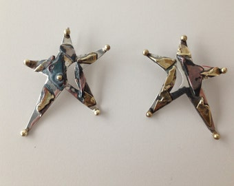 earrings handmade with various metals - vintage - one piece - 80's