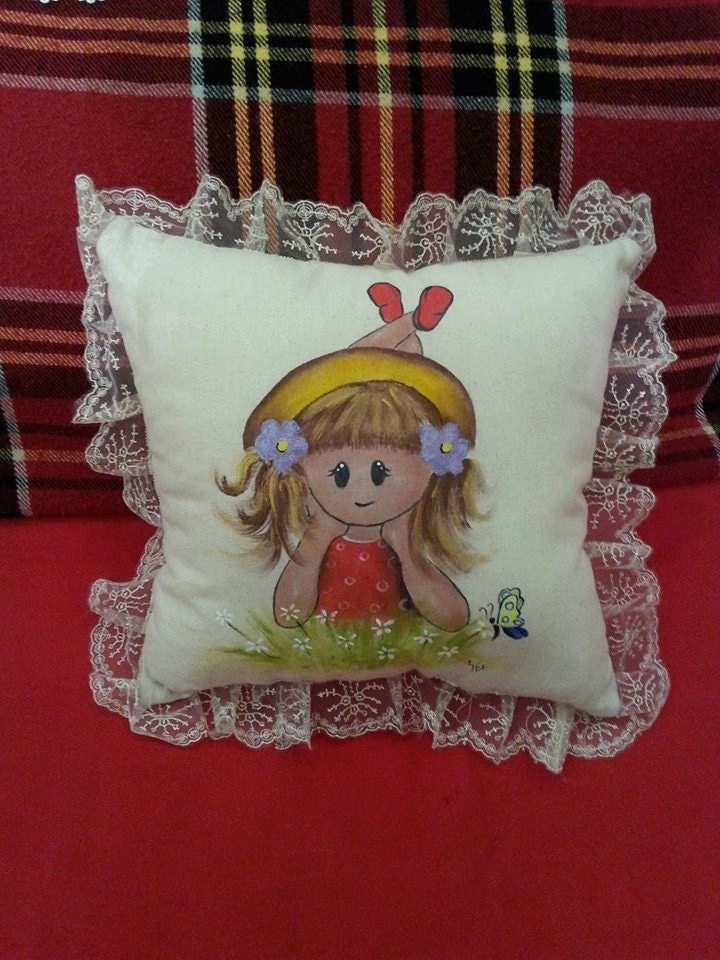 Girl room decor hand painted pillow decorative pillow by for Hand painted pillows