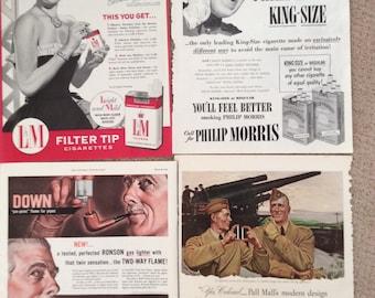 Four cigarette ads 11x14 color originals vintage