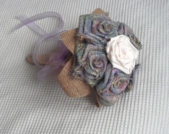 Handmade hessian (burlap) rustic rose bouquet wedding posy vintage shabby chic style alternative to fresh flowers