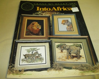 Into Africa Counted Cross Stitch Pattern Booklet (Lion, Cheetah, Elephant, etc)
