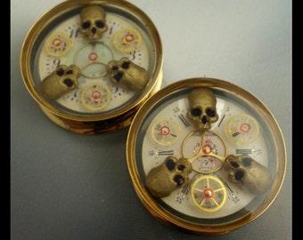 "1.25"" (32mm) pair of  steampunk plugs"