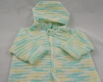 Toddler's crochet hooded cardigan sweater in pastel green, yellow and white candy stripes
