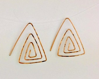 Silver, Gold, or Rose Gold hammer texture triangle earrings