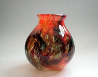 Small Orange & Blue Blown Glass Vase