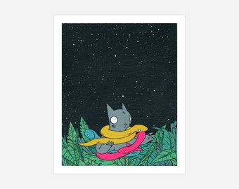 CAT WITH SNAKES - Archival Print, Metallic Paper, Illustration of Night Time, Cat and Snakes
