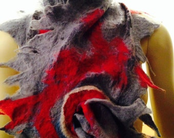 Nuno Felted Scarf Cobweb Spikes Silk Periwinkle and Red Pull-Through
