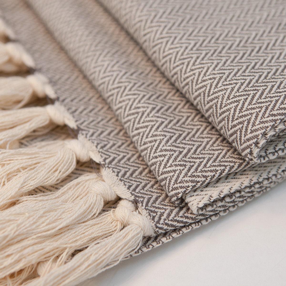 Gray Herringbone Coverlet : Beige grey throw luxury bedding herringbone pattern by