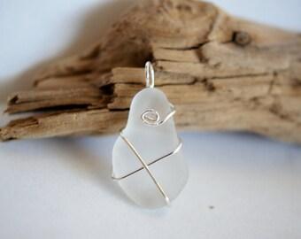 Opaque White Sea Glass Pendant