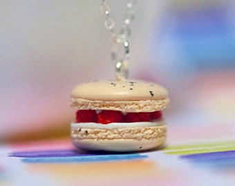 Miniature Raspberry Macaron Necklace with Sterling Silver Chain