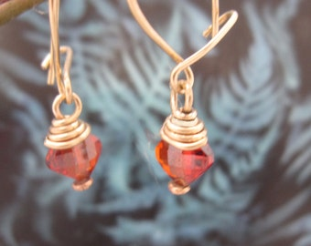 Gold French wire with CZ simulated garnet