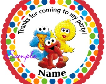 Sesame Street Babies Red Personalized Stickers, Party Favor Tags, Thank You Tags, Gift Tags, Birthday, Baby Shower