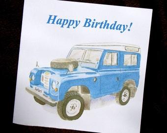 Land Rover Safari, classic car Birthday Card