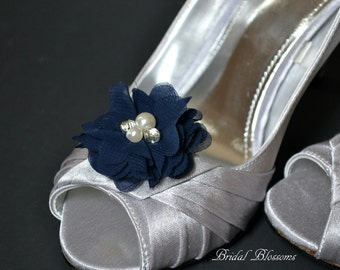 BEST SELLER - Navy Blue Chiffon Flower Shoe Clips | Pearl Rhinestone | Wedding Bridal Something Blue | Shoe Flowers | Bridal Bridesmaid Gift