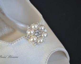 BEST SELLER - Pearl Rhinestone Shoe Clips   Wedding Bridal Ivory Pearls   Shoe Embellishments   Bridal Bridesmaid Gifts   Vintage Inspired