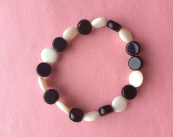 Black & White Hard Plastic Bracelet