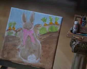 "Free Shipping, Rabbit overlooking  garden painting, miniature art painting, original, ""3x3"" painting, tiny gift"