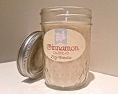 Cinnamon Soy Candle, Vanilla Soy Candle, 8oz All Natural Candle, Homemade Soy Candle, Hand poured jar candle