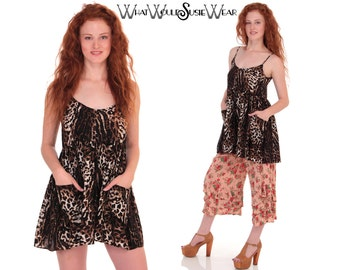 Leopard Babydoll Mini Dress with Pockets S/M/L Was 78 Dollars