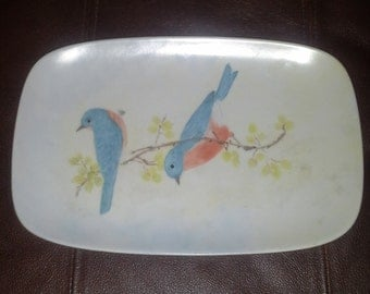 "Hand Painted Blue Bird Tray 10-*1/2"" x 7"" signed R. Roberts"