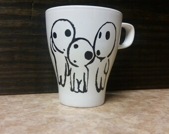 Tree Spirits hand painted mug, Princess Mononoke Kodama
