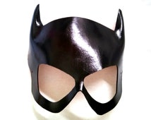 Black Leather Batgirl Catgirl Dominatrix Cosplay Mask Design Inspired by Babbs Tarr