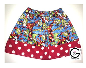 Superwoman Superman Superhero Skirt Outfit Girls Toddler Baby Coming Home Gift Birthday Party Gift Super Woman Red