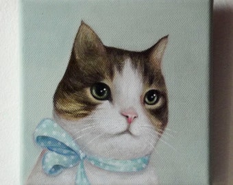 Custom pet portrait on canvas - original acrylic painting