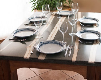 Concrete Kitchen Dining Table with Aspen Tree Inlays