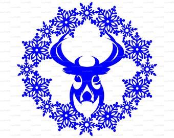 Christmas Snowflake frame Deer card Reindeer Хмаs (Studio V.3, svg, dxf, , eps, png) PaperCut file Silhouette Cameo EasyCutPrintPD
